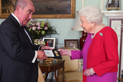 HM The Queen receives service medal in gold